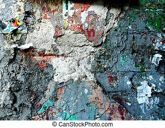 Grunge wall with old paint