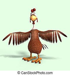 crazy cartoon chicken - sweet toon chicken with cute face...