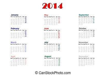 2014, Kalendarz, angielski