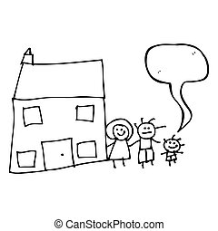 child's drawing of a family home