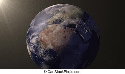 Earth animation zooms in on Europe