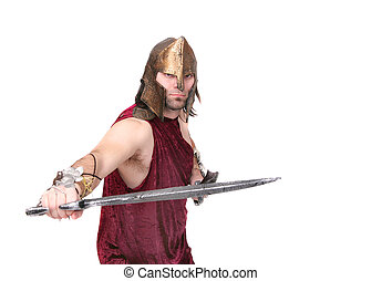 greek warrior - one adult male greek warrior with swords...