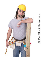 construction worker - one adult man construction worker...