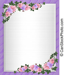 Wedding invitation Border orchids ivy - Illustration and...