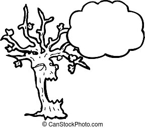 cartoon spooky tree