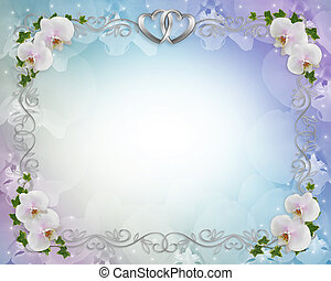 Wedding orchids invitation border - Illustration and image...