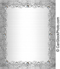 Wedding Border silver and pearls - Illustration and image...