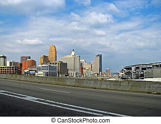 cityscape - highway driving on interstate in Cincinnati Ohio