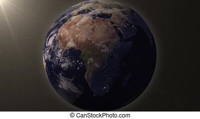 Earth zooms in on North Africa - Earth animation zooms in on...