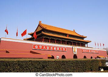 Tiananmen, puerta, prohibido, ciudad, (Beijing, China)