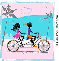 Two children riding on a tandem