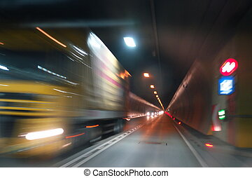 Transportation - driving through a traffic tunnel