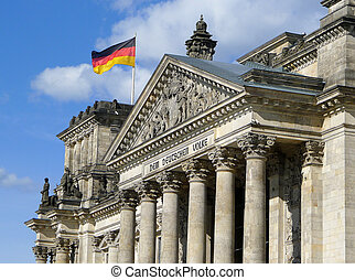 Flag Of Germany On Reichstag Building Berlin - Lateral view...