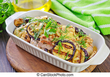 eggplants with meat and cheese