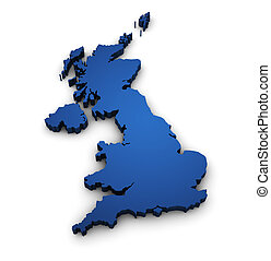 Map Of United Kingdom 3d Shape - Great Britain design with...