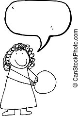 child's drawing of a woman with ball