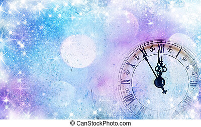 New Years at midnight - vintage clock with copy space