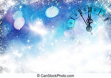 New Year's at midnight - Old clock pointing midnight with...