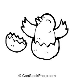 cartoon hatching baby bird