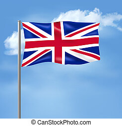 Flag of the United Kingdom on blue sky. Vector illustration