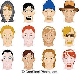 White Men Faces - Vector Illustration of 12 different White...