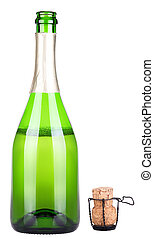 bottle of champagne uncork isolated on a white