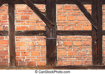 Background of beams and bricks exterior building