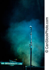 Microphone in stage lights - Microphone in blue stage lights