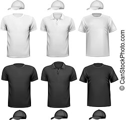 Black and white men shirt and cup. Design template. Vector illustration