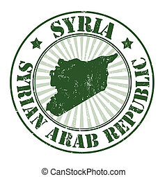 Syria stamp - Grunge rubber stamp with the name and map of...
