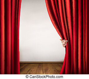 Background with red velvet curtain and hand. Vector illustration.