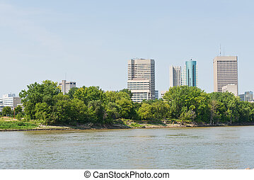 Offices - Office buildings along the Red River, Winnipeg,...