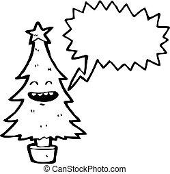 cartoon christmas tree with speech bubble
