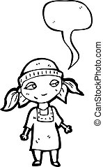 cartoon poor orphan girl with speech bubble