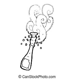 popped champange bottle cartoon