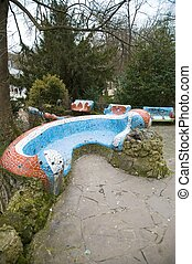mosaic bench - benchs with mosaic in a public free access...