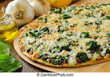 Spinach Pizza - A freshly baked thin crust spinach pizza...