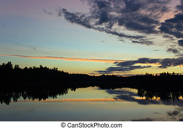 Silence  - White night in Karelia. Lake, sky, forest