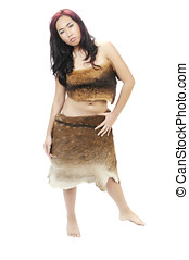 young Asian woman dressed in animal hides