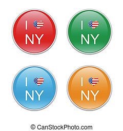 I Love NY icons - Icons to symbolize I Love New York in red,...