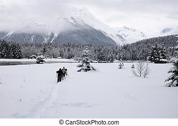 Cross Country Skiing - Friends skiing Alaskan backcountry