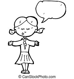cartoon school girl
