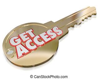 conseguir, Acceso, oro, llave, Permiso, especial, espacio...