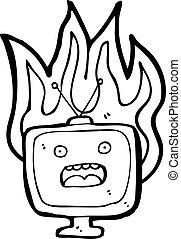 burning tv set cartoon