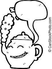 karikatur, teekanne