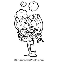 burning spooky tree cartoon