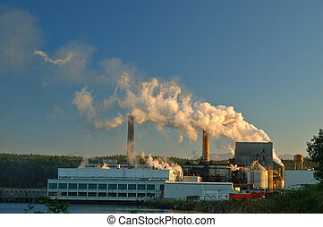 Factory - Papermill  belching out pollution