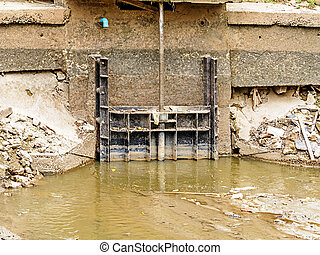 Small floodgate on the canal