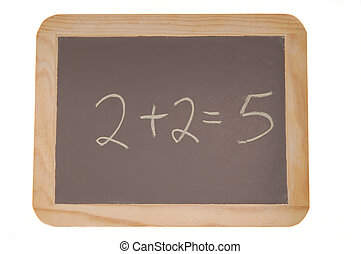 Chalkboard with 2+2 equals 5 written on it - Chalkboard with...