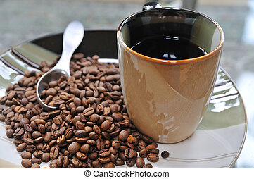 Morning Coffee - Morning coffee and coffee beans